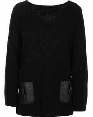 Шерстяной черный свитер с V-образным вырезом с карманами Les Copains