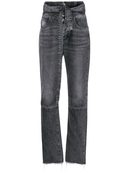 С завышенной талией хлопковые черные джинсы с карманами Unravel Project