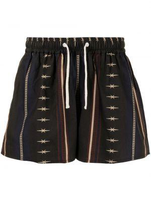 Czarne szorty bawełniane z printem Phipps