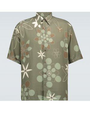 Koszula klasyczna z kołnierzem z kwiatowym nadrukiem Fendi
