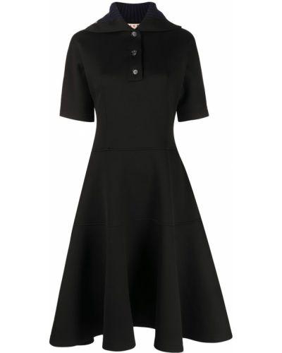 Платье миди в рубчик - черное Marni