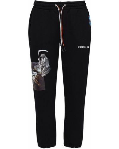 Czarne joggery bawełniane z printem Ihs