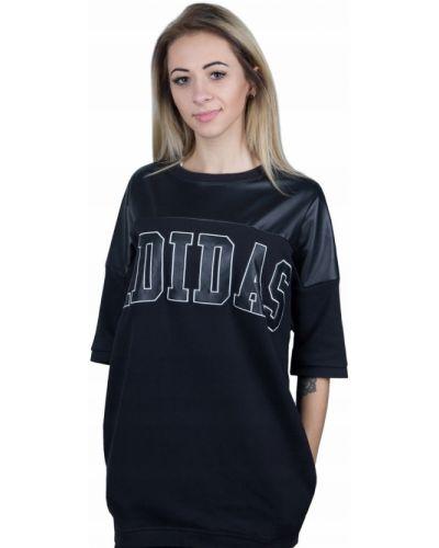 Czarna tunika bawełniana krótki rękaw Adidas