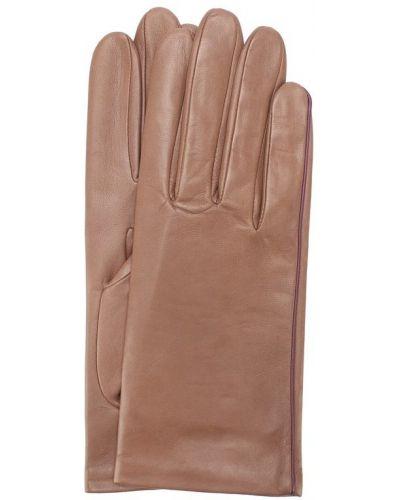 Кожаные перчатки шелковые бежевые Agnelle