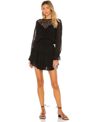 Шелковое черное платье мини с кокеткой Karina Grimaldi