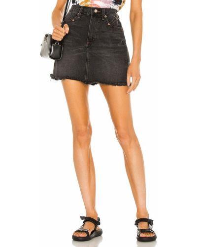 Czarna spódnica jeansowa z wysokim stanem bawełniana Pistola