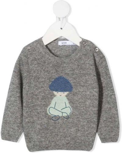 Серый кашемировый вязаный свитер с вышивкой Knot