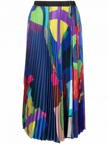 Синяя плиссированная юбка Sacai