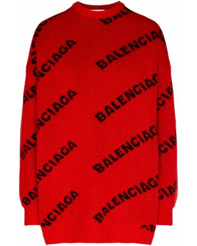 Свитер оверсайз в рубчик красный Balenciaga