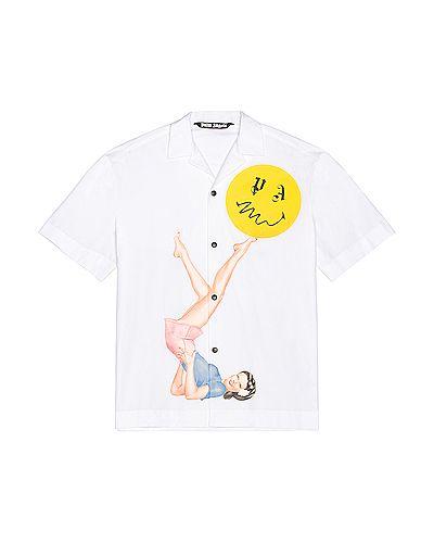 Хлопковая белая рубашка для полных Palm Angels