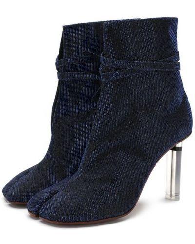 Кожаные ботильоны на каблуке текстильные Vetements