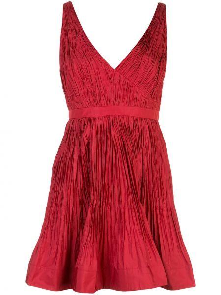 Красное плиссированное платье на молнии без рукавов Alexis