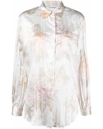 Белая классическая рубашка с длинными рукавами с воротником Acne Studios