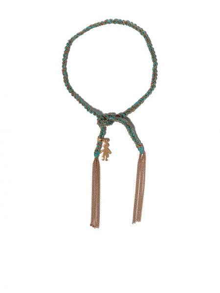 Шелковый розовый золотой браслет с подвесками Carolina Bucci