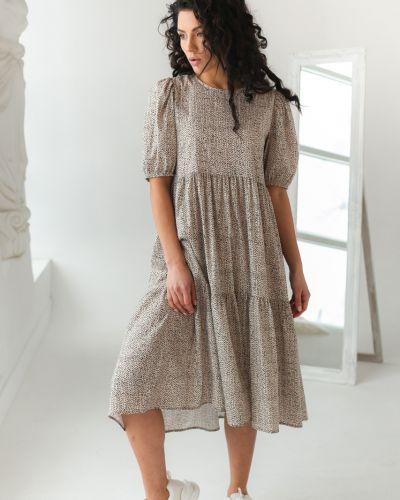 Бежевое платье трапеция с вырезом Clew