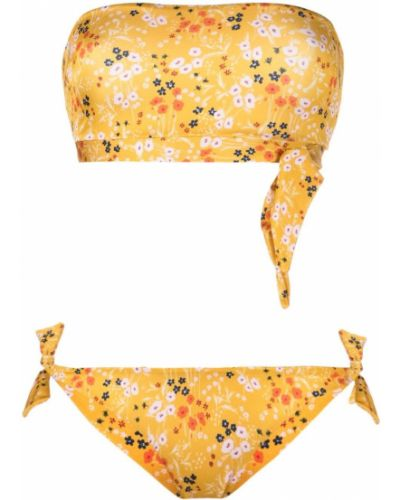 Желтый слитный купальник в цветочный принт Lautre Chose