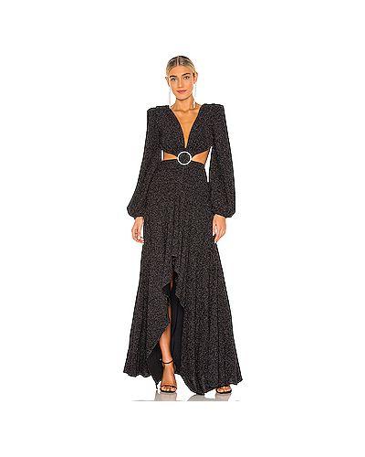 Черное вечернее платье с люрексом с вырезом на молнии Patbo