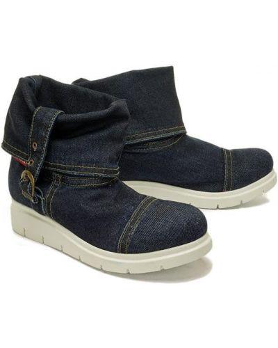 Niebieskie jeansy skorzane Lanqier