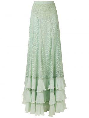 Шелковая зеленая юбка с оборками Martha Medeiros