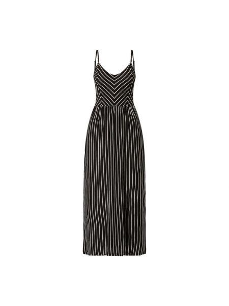 Czarna sukienka długa rozkloszowana w paski Pieces