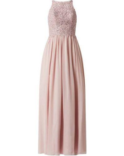 Różowa sukienka rozkloszowana z szyfonu Laona