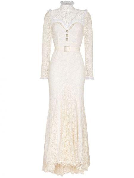 Приталенное кружевное белое платье макси Alessandra Rich