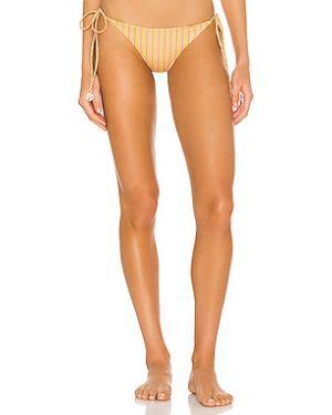 Нейлоновый купальник с оборками золотой с завязками Luli Fama