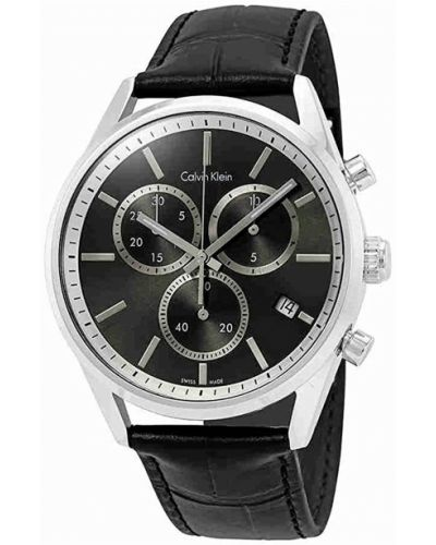 Czarny zegarek na skórzanym pasku skórzany Calvin Klein
