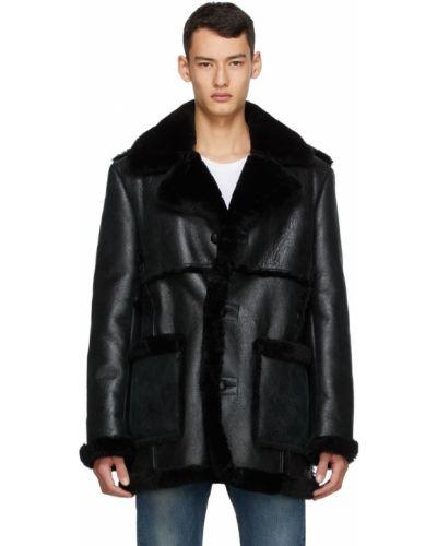 Czarny długi płaszcz z długimi rękawami Schott