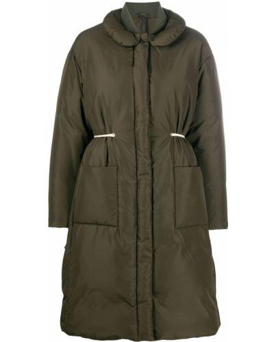 Зеленое стеганое длинное пальто с воротником Sara Lanzi