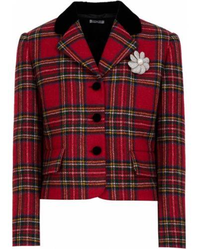 Повседневный шерстяной пиджак с воротником на пуговицах Miu Miu