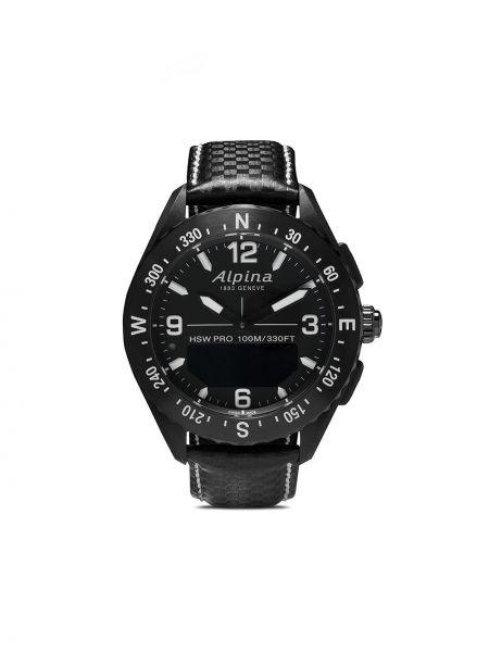 Кожаные часы - черные Alpina