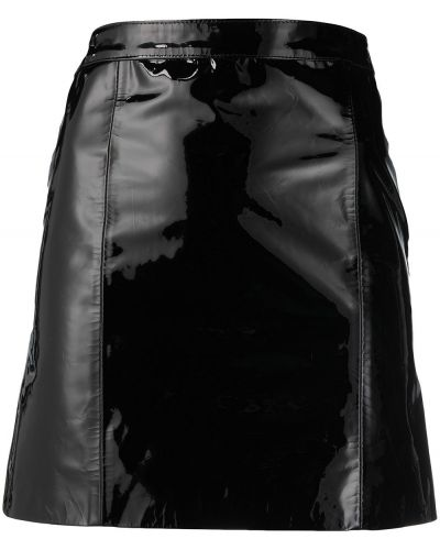 С завышенной талией черная кожаная юбка Manokhi