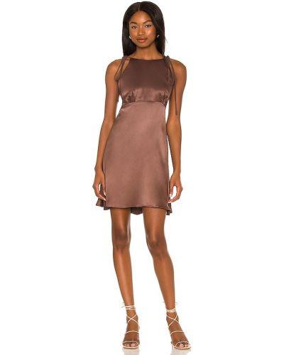 Satynowa sukienka - brązowa Lpa