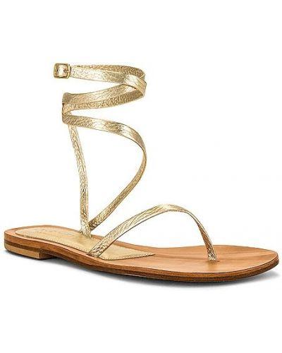 Złote sandały na co dzień z klamrą Cornetti
