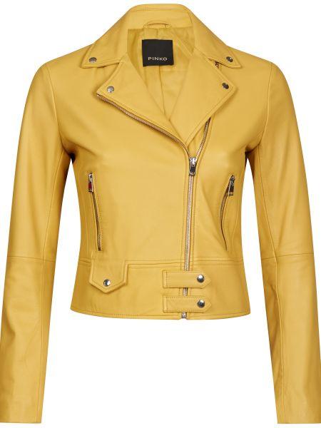 Желтая кожаная куртка с подкладкой Pinko