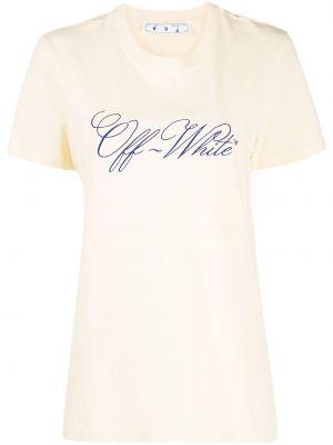 Bawełna biały koszula z krótkim rękawem z haftem z wiskozy Off-white