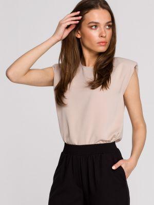 Beżowa bluzka bez rękawów do pracy Stylove