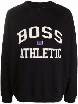 Czarna bluza długa z długimi rękawami bawełniana Boss Hugo Boss