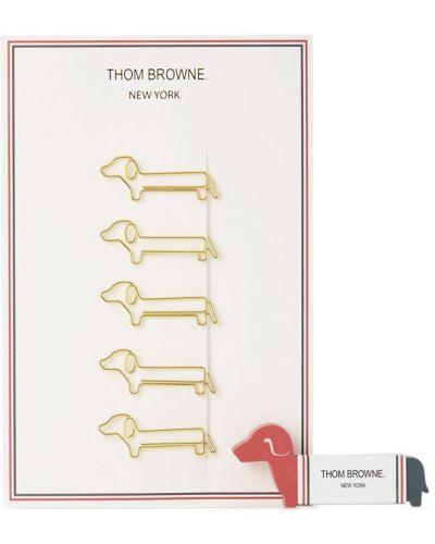 Białe złote klipsy Thom Browne