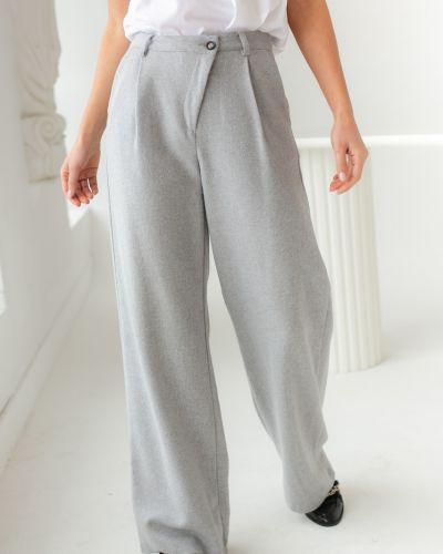 Серые широкие брюки с завышенной талией Clew