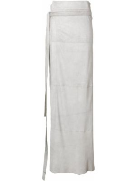 Замшевая серая юбка макси с запахом с поясом Olsthoorn Vanderwilt
