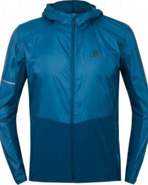 Прямая синяя куртка с капюшоном на молнии с карманами Salomon
