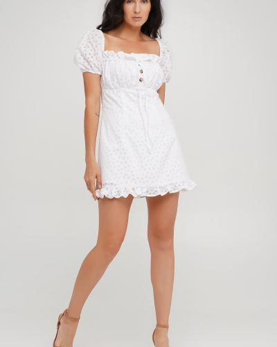 Белое приталенное платье Anna Yakovenko