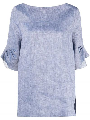 Niebieski z rękawami bluzka z falbankami Peserico