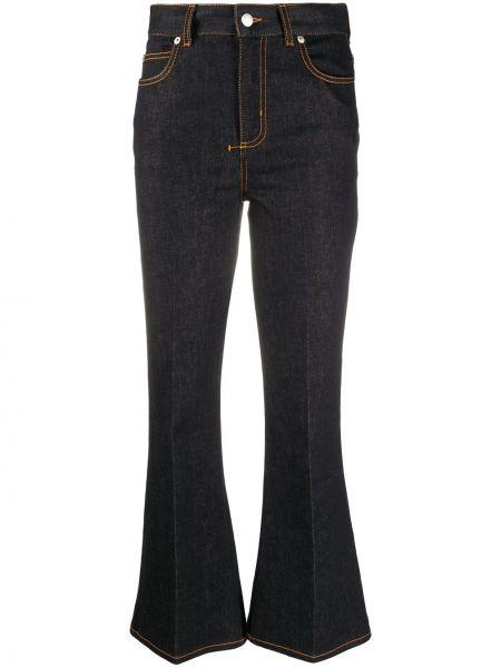 Кожаные черные джинсы с высокой посадкой Alexander Mcqueen