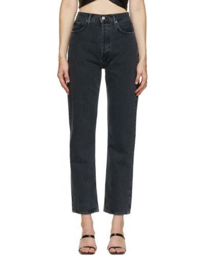 Prosto czarny jeansy na wysokości z kieszeniami Agolde