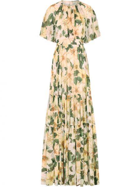 Шелковое зеленое платье макси в цветочный принт Dolce & Gabbana