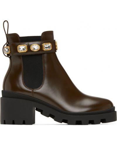 Czarny buty na platformie na pięcie z prawdziwej skóry na platformie Gucci