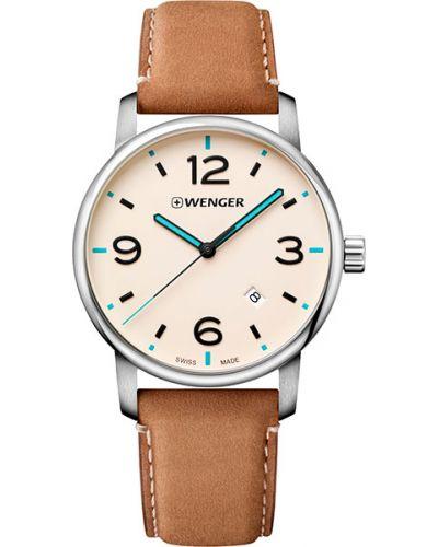 Часы водонепроницаемые с кожаным ремешком швейцарские Wenger
